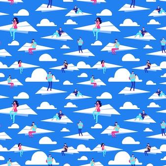 Personas que vuelan en aviones de papel vector de patrones sin fisuras