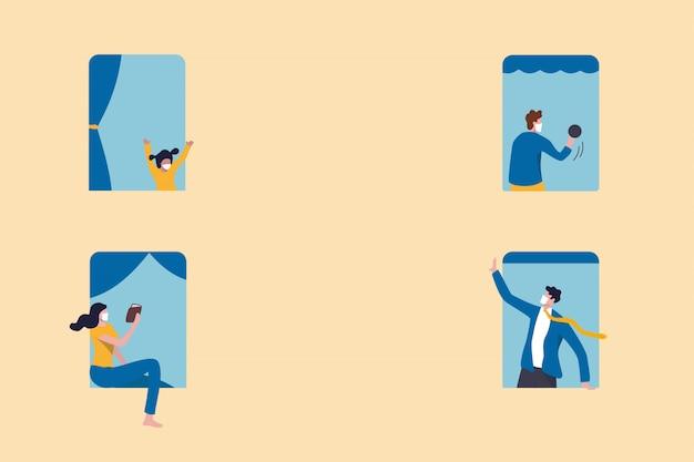 Las personas se quedan en casa como distanciamiento social para protegerse del concepto mínimo del brote de coronavirus covid-19, las personas en las ventanas con actividades se quedan en casa, la política de distanciamiento social con espacio de copia