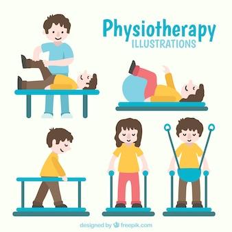 Personas realizando ejercicios de fisioterapia