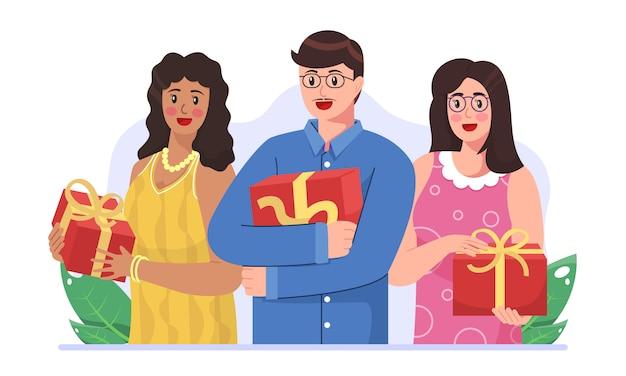 Las personas reciben caja de regalo