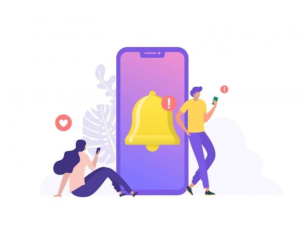 Las personas reciben notificaciones de mensajes de chat en el teléfono móvil. las personas activan las notificaciones en las redes sociales para estar al día. se puede usar para la página de inicio, plantilla, interfaz de usuario, web, página de inicio, póster, pancarta, folleto