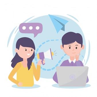 Personas con redes sociales de liderazgo de promoción de noticias de discurso de computadora portátil