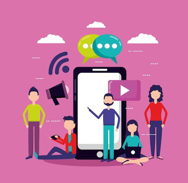 Personas redes sociales y teléfonos inteligentes