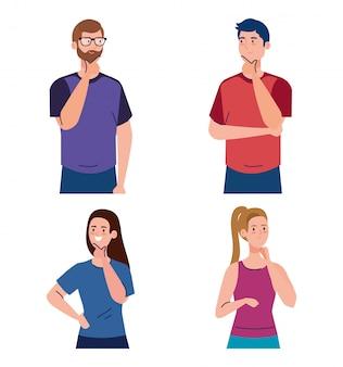 Personas reflexivas, hombres y mujeres jóvenes que piensan o resuelven problemas