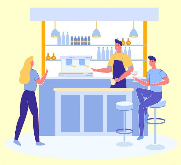 Personas relajantes en alcohol bar y beber cócteles.