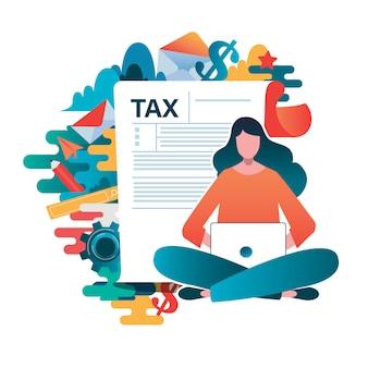 Personas rellenando formulario de solicitud de formulario de impuestos.