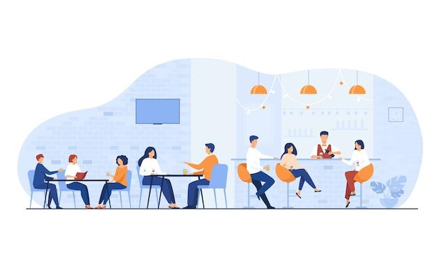 Personas reunidas en el bar del restaurante para cenar ilustración vectorial plana aislada. dibujos animados de hombres y mujeres bebiendo vino o cerveza en el pub.