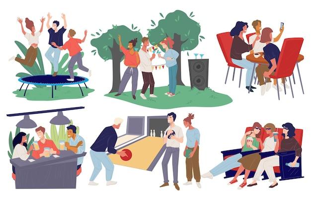 Personas reunidas para divertirse, festejar en el patio trasero, asar carne a la parrilla y pasar tiempo en un pub o café tomando café