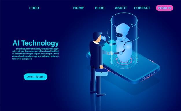 Las personas y los robots de inteligencia artificial trabajan juntos para desarrollar tecnología. análisis del sistema. gran procesamiento de datos