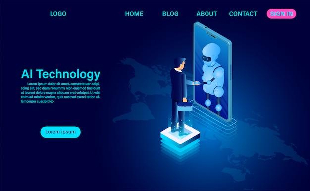 Las personas y los robots de inteligencia artificial trabajan juntos para desarrollar tecnología en todo el mundo. análisis del sistema. gran procesamiento de datos