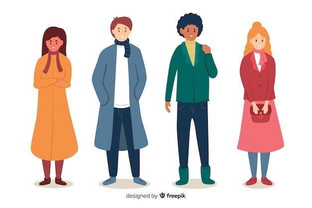 Personas con ropa colorida de otoño