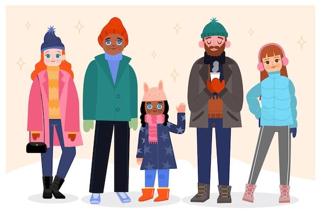 Personas con ropa de invierno acogedora.