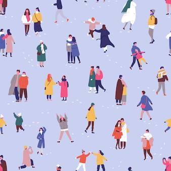 Personas en ropa de invierno de patrones sin fisuras.