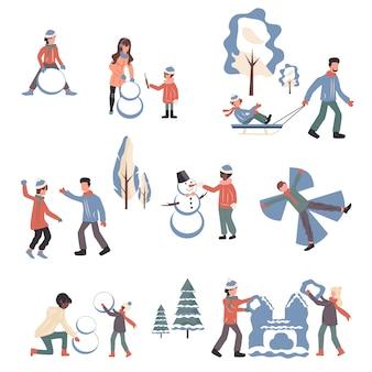 Personas en ropa de invierno personajes de dibujos animados conjunto.
