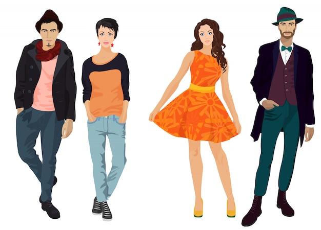 Personas en ropa vintage y casual.