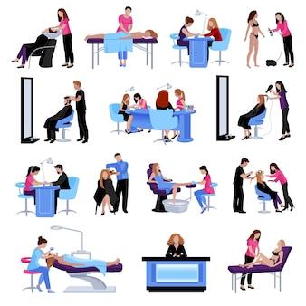 Personas de salón de belleza conjunto de diferentes procedimientos y servicios en estilo plano