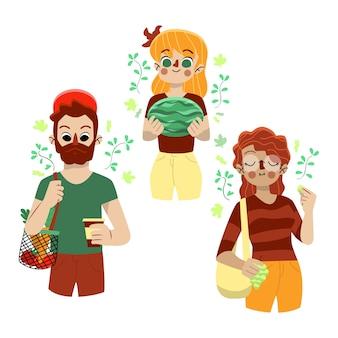 Personas con sandía y productos naturales.