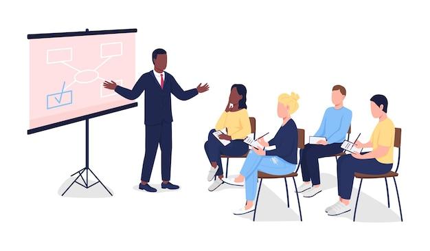 Personas en seminario de negocios plano.