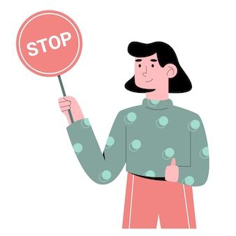 Personas con señal de stop