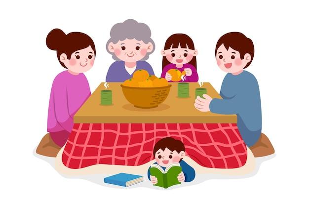 Personas sentadas alrededor de una mesa kotatsu y lectura infantil.