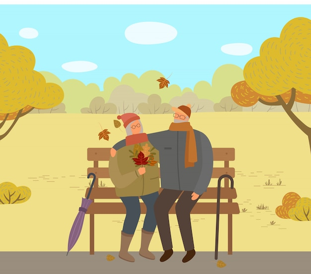Personas sentadas en el banco en el parque de otoño, pareja de ancianos