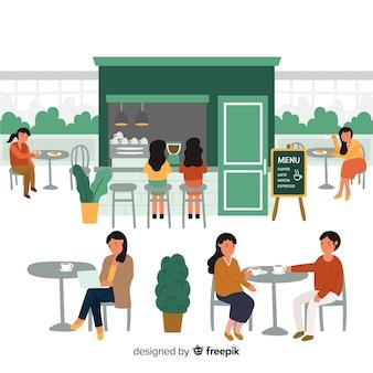 Personas sentadas en café de diseño plano.