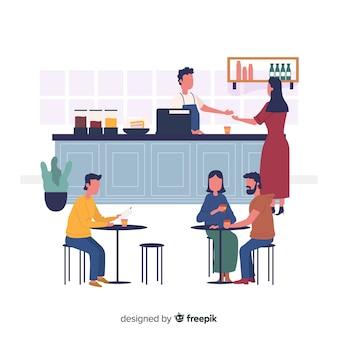 Personas sentadas en un cafe