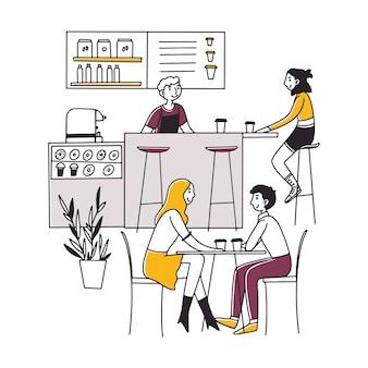 Personas sentadas en la cafetería, tomando café y trabajando en computadoras portátiles
