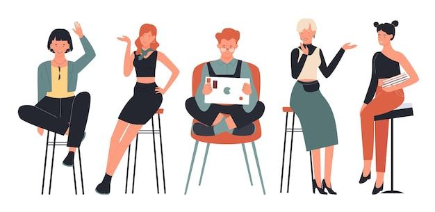Personas sentadas en sillas conjunto de ilustración