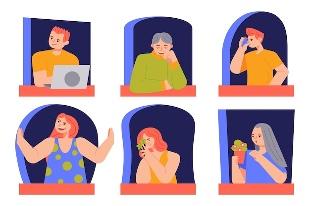 Personas sentadas en sus ventanas