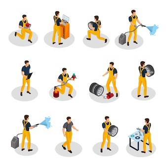 Personas de servicio automático isométricas con procedimientos de lavado de diagnóstico y cambio de neumáticos de pintura de automóviles aislados