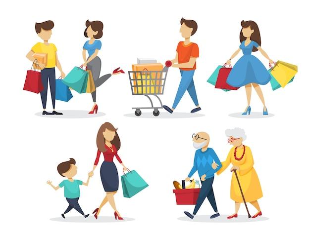 Personas en set de compras. tienda de abarrotes y moda