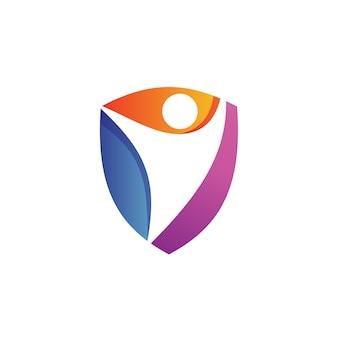 Personas en shield logo logo vector