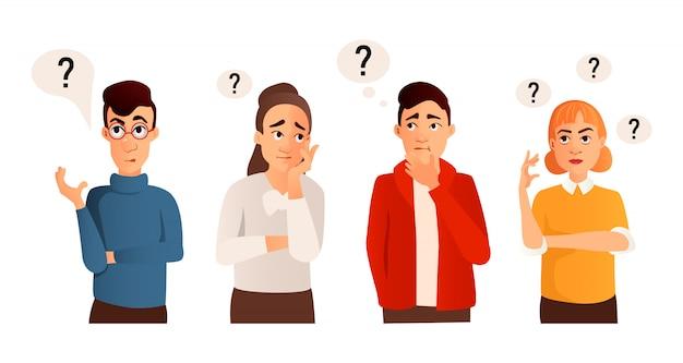 Personas con signos de interrogación. hombre y mujer con pregunta, chico pensante