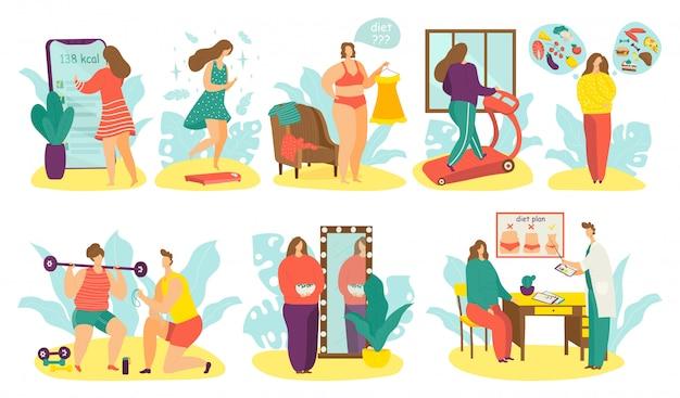 Las personas con sobrepeso en la ilustración de la dieta, el personaje de grasa activa de la mujer del hombre de dibujos animados pierden peso usando el plan de dieta en blanco