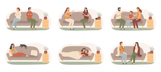 Personas en sofás. adultos sanos felices en el sofá, familia en recuperación de enfermedades y personas en el sofá tomando el sol debajo de una manta