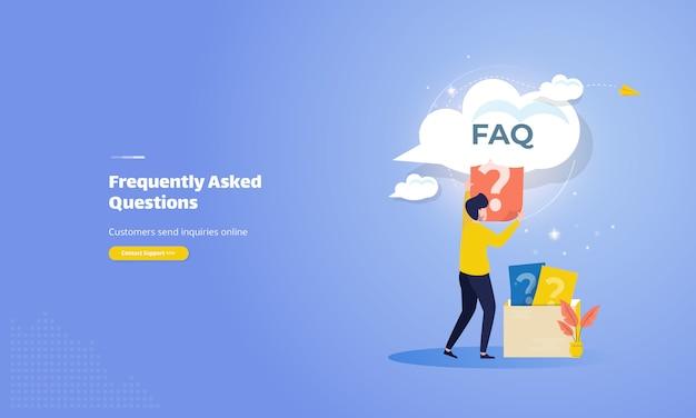 Las personas solicitaron en línea el concepto de ilustración de preguntas frecuentes