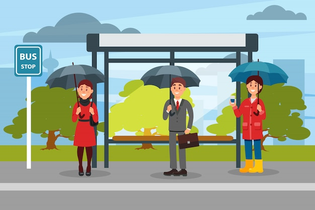 Las personas con sombrillas esperando el autobús en la parada de autobús ilustración