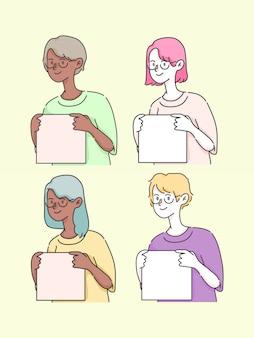 Personas sosteniendo cuadro insertar texto ilustración linda