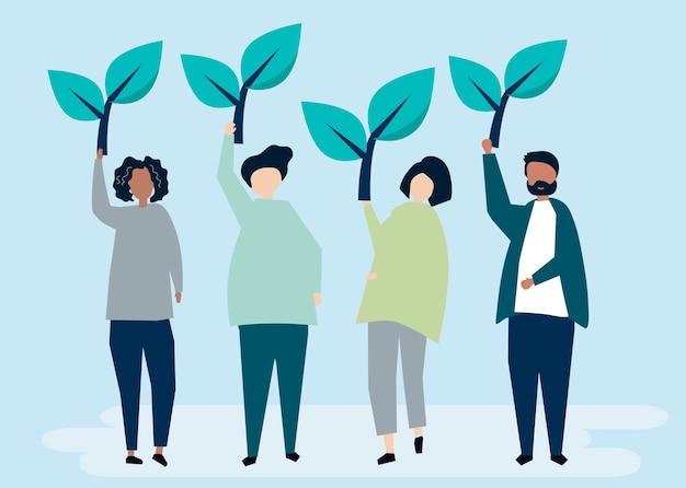 Personas sosteniendo íconos de árboles para elevar la conciencia ambiental.