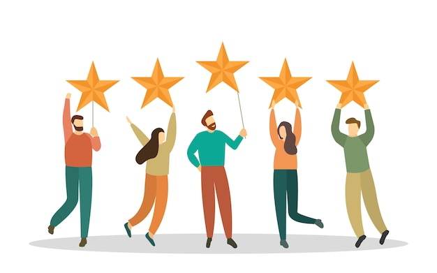 Las personas sostienen grandes estrellas sobre sus cabezas. calificación, cinco estrellas. comentarios de los clientes.