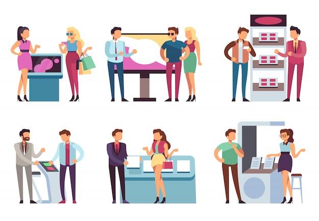 Personas y stand de producto. los promotores promocionan muestras de productos para hombres y mujeres con stands de exposición de promoción. conjunto de vectores de exposición