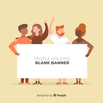Personas sujetando cartel en blanco
