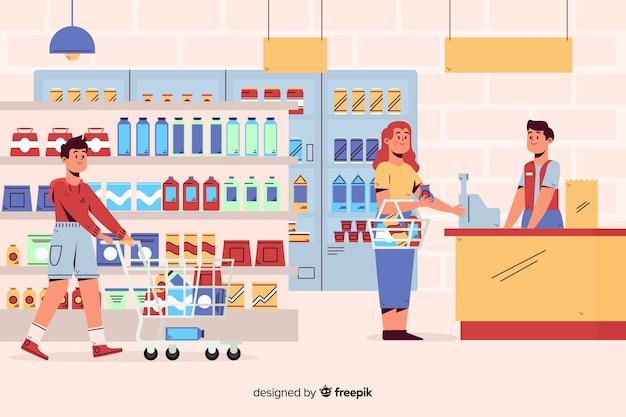 Personas en el supermercado
