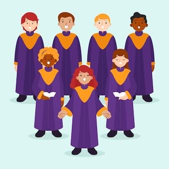 Personas talentosas ilustradas cantando en un coro de gospel.
