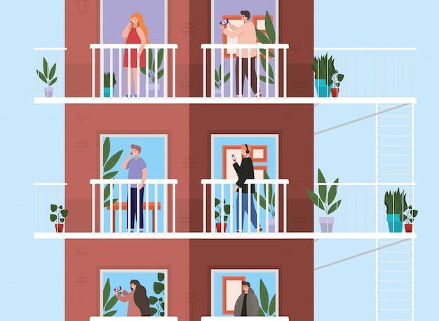 Personas con teléfono inteligente en los balcones de las ventanas del edificio marrón, la arquitectura y la ilustración del tema de cuarentena