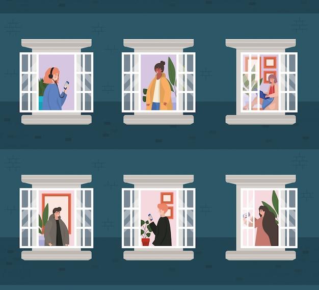 Las personas con teléfono inteligente en las ventanas del edificio azul, la arquitectura y la ilustración del tema de cuarentena