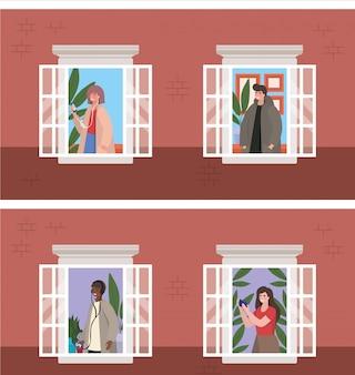 Personas con teléfono inteligente en las ventanas del edificio marrón, ilustración del tema de arquitectura y cuarentena