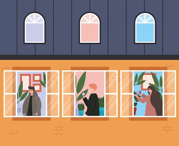 Personas con teléfono inteligente en las ventanas del edificio naranja, la arquitectura y la ilustración del tema de cuarentena
