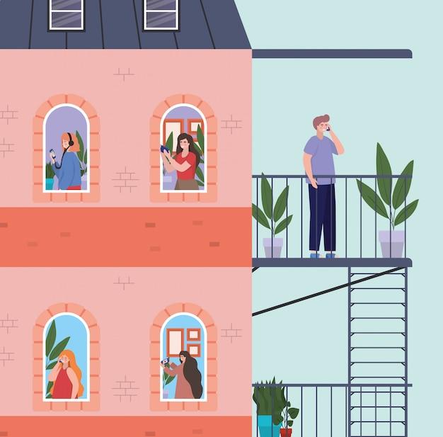 Personas con teléfono inteligente en las ventanas del edificio rosa con escaleras de escape, ilustración del tema de arquitectura y cuarentena